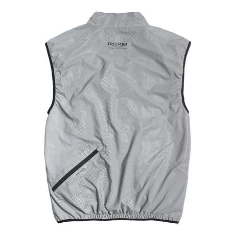 A picture of a new reflective gray vest, back